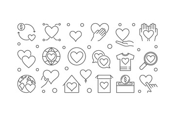 Charity and philanthropy vector outline horizontal banner