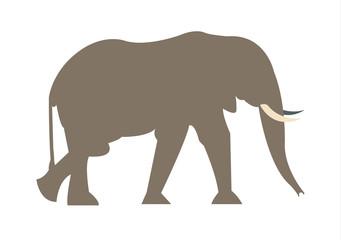 African elephant walking illustration silhouette