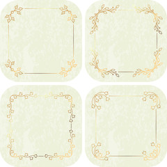 Set of four gold calligraphic floral frames on very light gentle tones background.