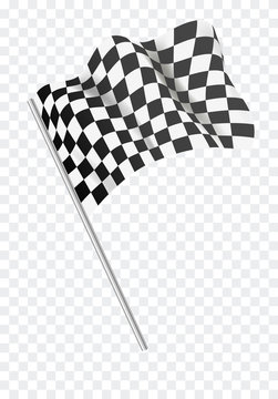 Chequered flag flying. Vector illustration.