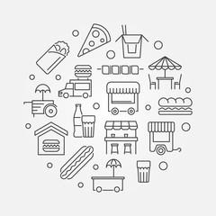 Street food festival vector outline illustration
