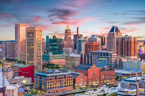 Fototapete Baltimore, Maryland, USA Skyline