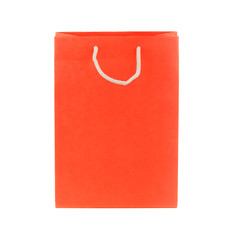 Orange package from paper, isolated on white
