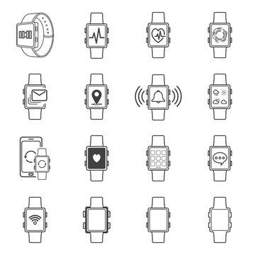 smartwatch technology line icon. editable stroke. vector illustration
