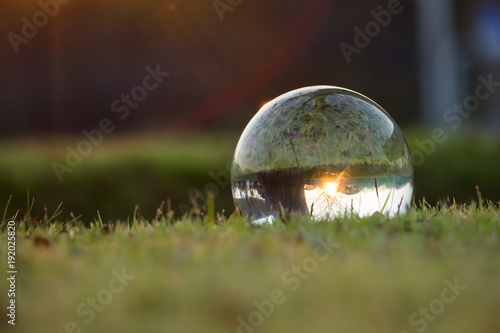 Crystal ballon on green grass near sunset,enviroment saving