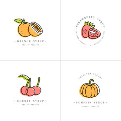 Vector set design colorful templates logo and emblems - syrups and toppings-orange, cherry, strawberry and pumpkin. Food icon. Logos in trendy linear style isolated on white background.