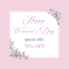 Womans Day collection sale banners.Sale Discount 8 March Happy Women s Day poster. Eighth March gift card. Spring Holiday Sale. Futuristic, promotion design. Advertising, Marketing, greeting cards