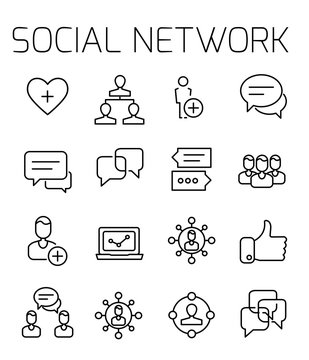 Social network related vector icon set.