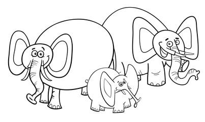 elephants cartoon character group coloring book