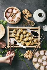 Chinese and korean dumplings