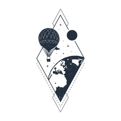 Hand drawn travel badge with hot air balloon textured vector illustration.