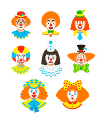 Clown faces different avatars. Vector flat icons. Cartoon illustration. Circus men and girl smiling portraits with different makeup, hair and hats.