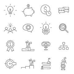 set of line icon the way to success. editable strock. vector illustration.