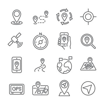 16 line icon location and place concept. editable stroke. vector illustration.