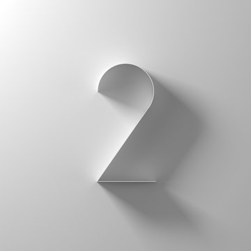 2, two, white paper number