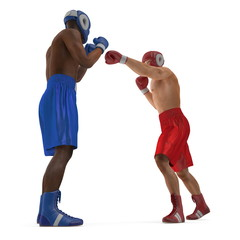 Two male boxers fighting on white. 3D illustration