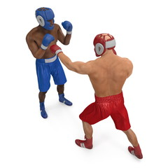 Two professionl boxers are fighting on white. 3D illustration