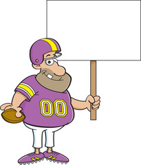 Cartoon illustration of a football player holding a sign.
