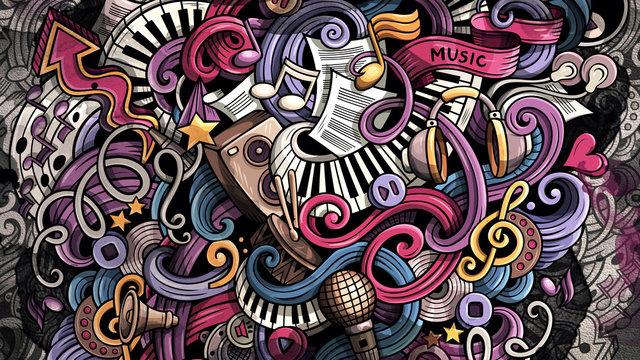 Doodles Music illustration. Creative musical background