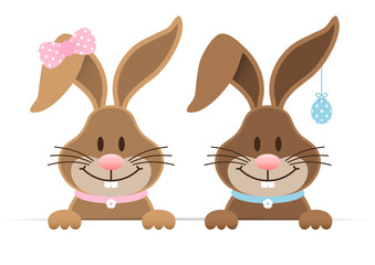 Easter Bunnies Boy Egg & Girl Horizontal Banner