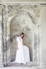 Beautiful happy bride in white dress