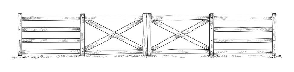 Wooden sketch fence. Vector illustration