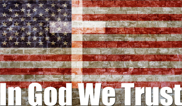 IN GOD WE TRUST with Flag