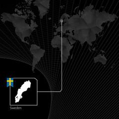 Sweden on black World Map. Map and flag of Sweden.