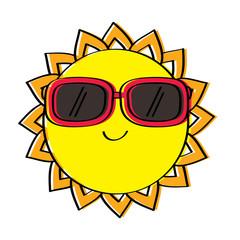 cartoon sun wearing sunglasses summer character vector illustration