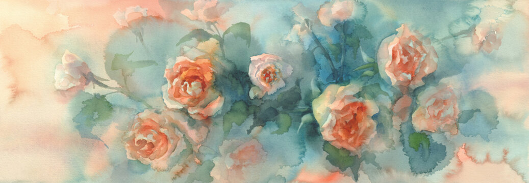 orange roses colorful background watercolor