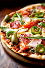Pizza with Salami and Ham
