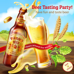 Vector 3d realistic colorful background, promotion banner for tasting party, with brown bottle of craft beer, with full glass of splashing alcoholic drink on wooden table with hops and barley