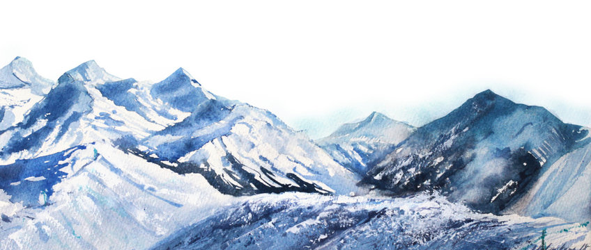 Mountain winter snow peak watercolor in blue tone on white background