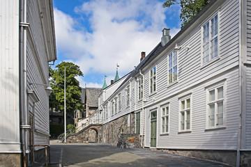 Historic white wooden buildings in Stavanger