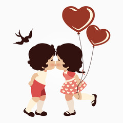 Clip art of two lovers & heart balloons which can be used for creating your own wallpapers, backgrounds, backdrop images, fabric patterns, clothing prints, labels, crafts & other projects