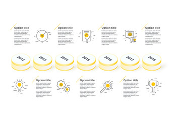Colorful Horizontal 3D Timeline Infographic Layout