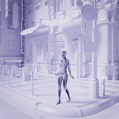 Robot woman walking in futuristic white city