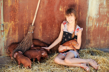 The girl is playing with red newborn pigs of the Duroc breed. The concept of caring and caring for animals.
