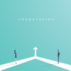 Business cooperation and partnership vector concept. Woman and man working together for common goal. Symbol of equality, collaboration, connection.