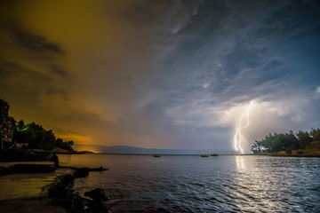 Beautiful landscape of Croatia, thunder storm, Croatia coast, sea and mountains. Panorama