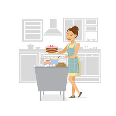 cute cheerful woman baking strawberry cake in the kitchen at home