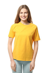 Young woman in stylish t-shirt on white background. Mockup for design