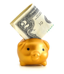 Piggy bank and money on white background