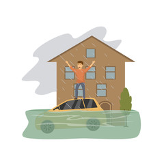 Flooded house, man asking for help standing on the roof of a sinking car, natural disaster concept graphic