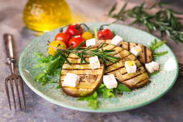Griled eggplant with feta chese