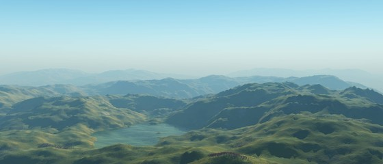 lake in the green hills 3D rendering