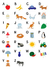 English Alphabet for children education with funny pictures of birds, animals and different objects