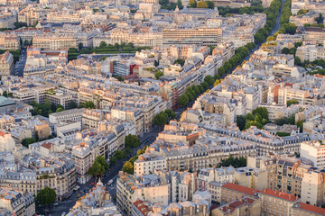 Street in cityscape of Paris, France