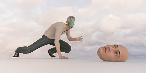 Robot man searching for removable face mask