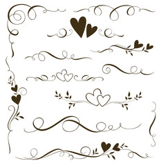Vector set of floral calligraphic elements, dividers and love ornaments for page decoration and frame design. Decorative heart silhouette for wedding cards and invitations.